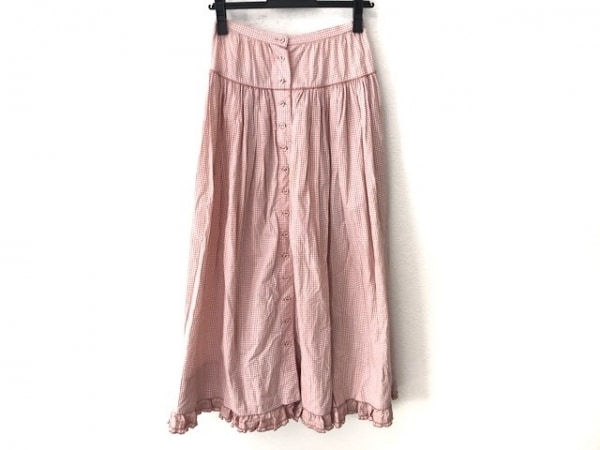 ワンダフルワールド ロングスカート サイズM レディース美品  ピンク×白