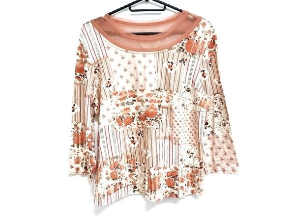 ROSSA(ロッサ) 長袖カットソー サイズ46 XL レディース美品  オレンジ×白×マルチ