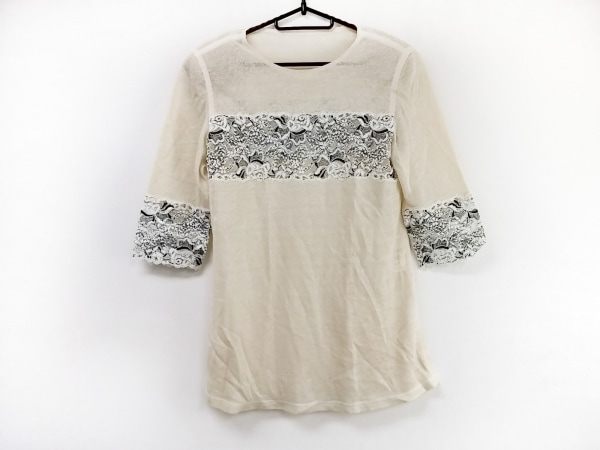 ROSSA(ロッサ) 七分袖カットソー サイズ42 L レディース美品  アイボリー×黒×白