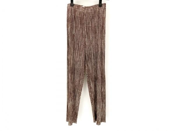 プリーツプリーズ パンツ サイズ2 M レディース美品  ブラウン×アイボリー プリーツ