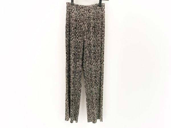 プリーツプリーズ パンツ サイズ3 L レディース美品  黒×アイボリー×マルチ