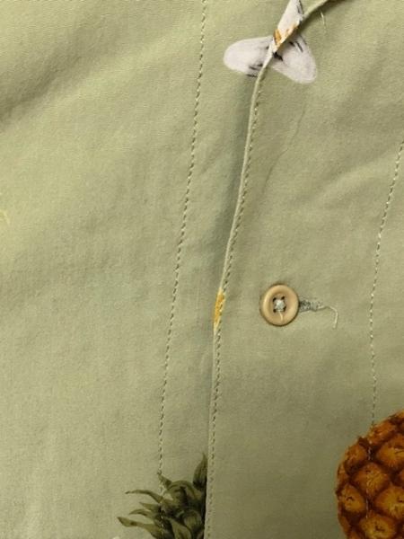 ワンダフルワールド 半袖シャツ メンズ ライトグリーン×イエロー×マルチ