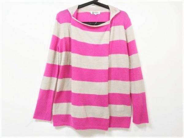 ピッコーネ 長袖セーター サイズ38 S レディース美品  ピンク×ライトグレー ボーダー