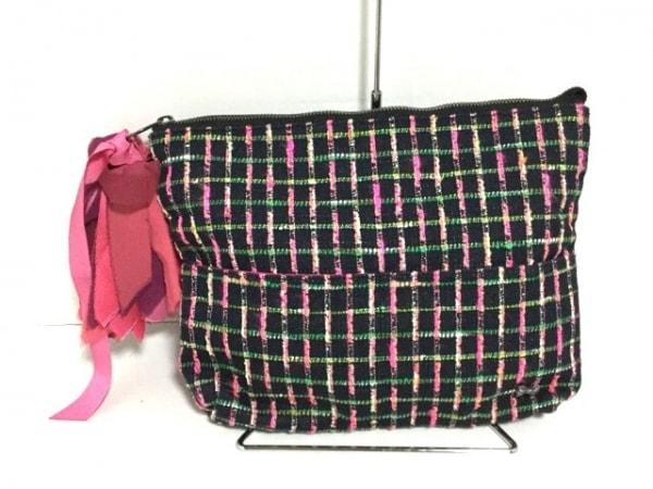 MUGUET(ミュゲ) クラッチバッグ 黒×ピンク×マルチ ツイード コットン×化学繊維