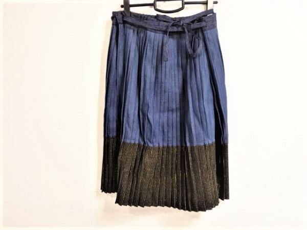 KAPITAL(キャピタル) 巻きスカート サイズ1 S レディース ネイビー×黒×ゴールド