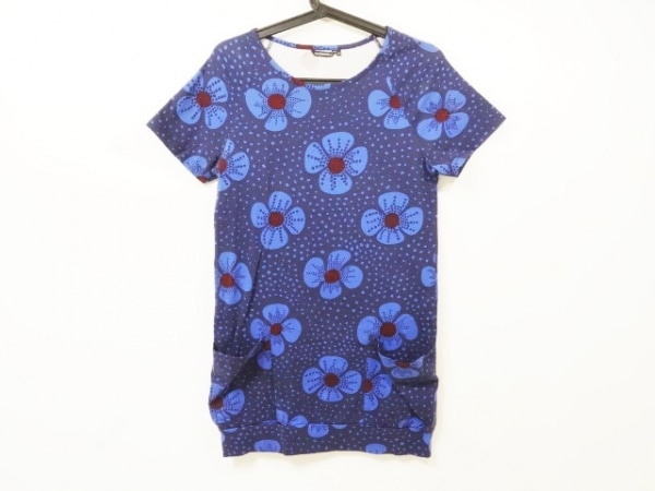 marimekko(マリメッコ) ワンピース サイズXS レディース ネイビー×ブルー 花柄