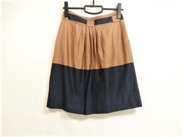 marimekko(マリメッコ) スカート サイズ34 S レディース ブラウン×ダークネイビー