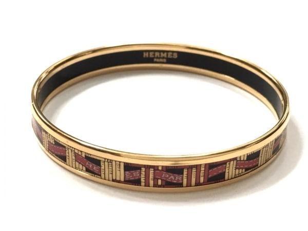 HERMES(エルメス) バングル美品  エマイユ 金属素材 ゴールド×黒×レッド