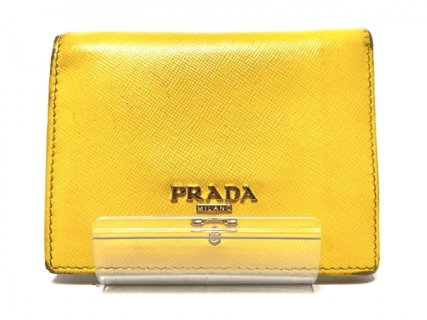 PRADA(プラダ) 2つ折り財布 - イエロー×オレンジ×マルチ レザー