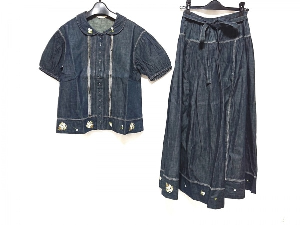 ピンクハウス スカートセットアップ レディース ネイビー×白×マルチ デニム/刺繍