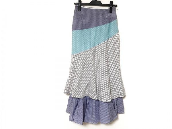 グレースクラス ロングスカート サイズ38 M レディース美品  白×ブルー×マルチ