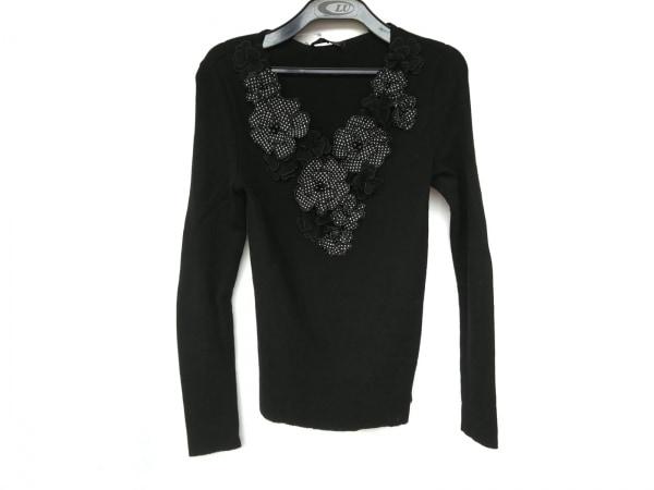 ランバンコレクション 長袖セーター サイズ40 M レディース新品同様  黒×アイボリー