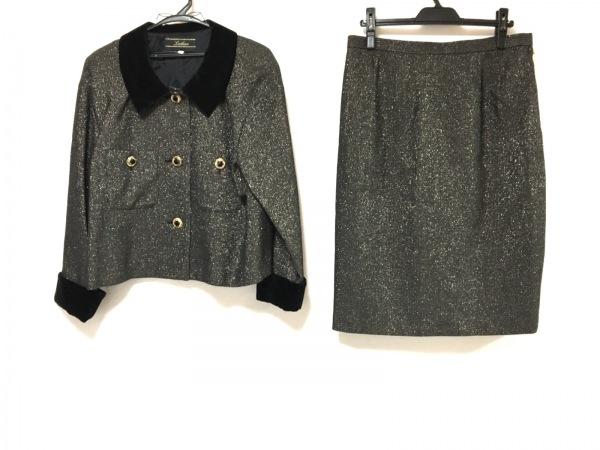 レリアン スカートスーツ サイズ13 L レディース 黒×ゴールド 肩パッド/ラメ