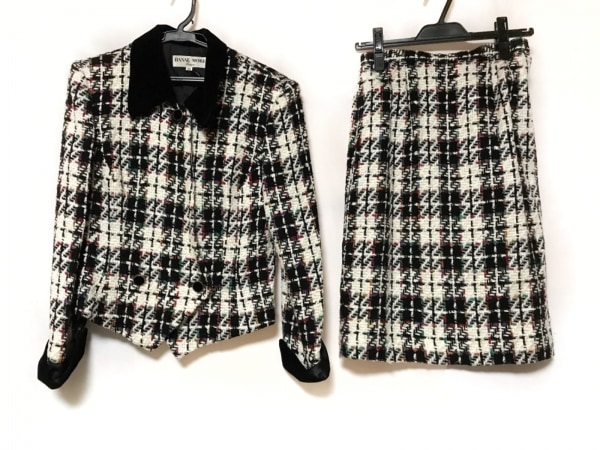 HANAE MORI(ハナエモリ) スカートスーツ サイズ9 M レディース 黒×白×マルチ