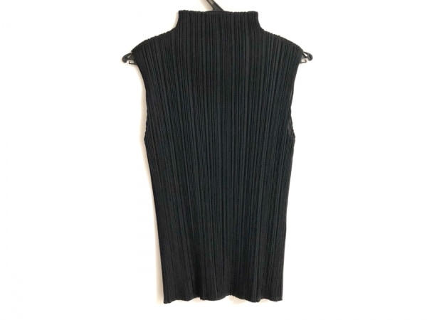 プリーツプリーズ ノースリーブカットソー サイズ4 XL レディース美品  黒