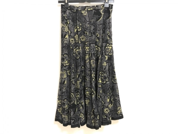 HIROKO KOSHINO(ヒロココシノ) ロングスカート サイズ38 M レディース 黒×マルチ