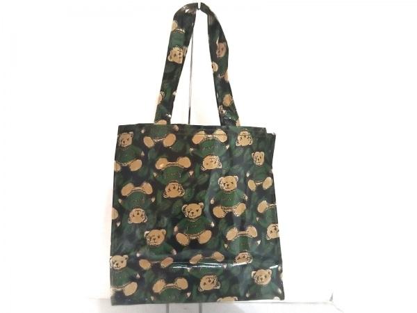 ハロッズ トートバッグ美品  黒×グリーン×マルチ クマ柄 コーティングキャンバス