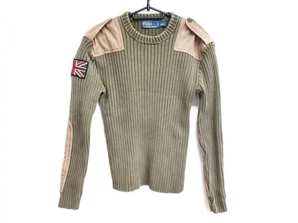 ポロラルフローレン 長袖セーター サイズS メンズ美品  カーキ×ブラウン