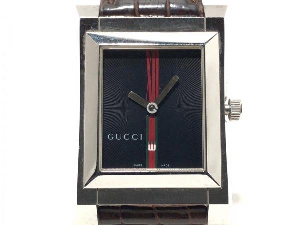 GUCCI(グッチ) 腕時計 111M レディース 型押し革ベルト 黒×レッド×グリーン