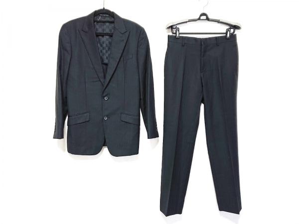 コムサデモードメン シングルスーツ サイズS メンズ美品  黒 ストライプ