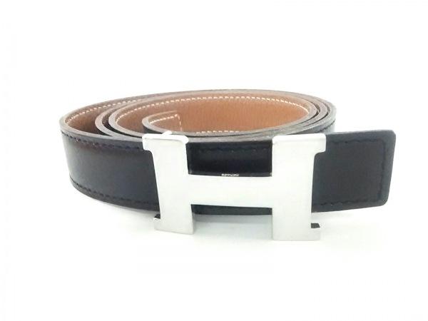 HERMES(エルメス) ベルト 85 黒×ブラウン シルバー金具 レザー