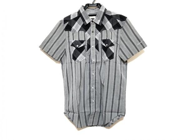 DIESEL(ディーゼル) 半袖シャツ サイズS メンズ美品  ライトグレー×ダークグレー×黒