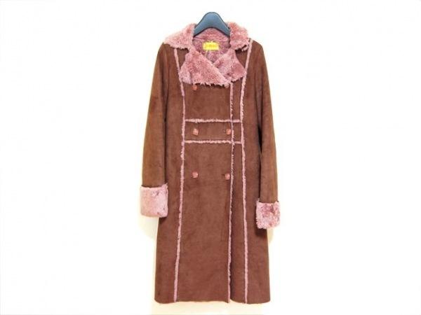 ホコモモラ コート サイズ40 XL レディース新品同様  ブラウン×ピンク 冬物