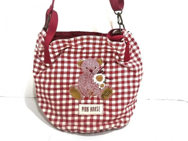 ピンクハウス ショルダーバッグ レッド×白×マルチ チェック柄/クマ/刺繍 コットン