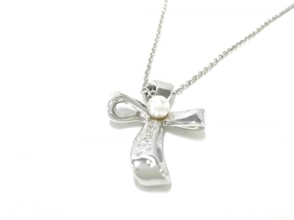 mikimoto(ミキモト) ネックレス美品  シルバー×パール アイボリー クロス