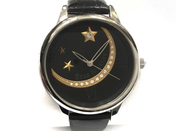 スタージュエリー 腕時計 ボーイズ スター/ラインストーン 黒×ゴールド