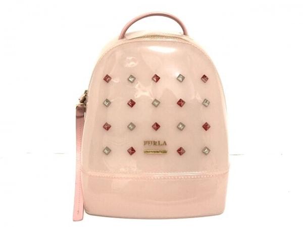 FURLA(フルラ) リュックサック美品  ピンク スタッズ PVC(塩化ビニール)×レザー