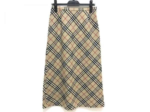 バーバリーズ ロングスカート サイズ40 M レディース美品  ベージュ×マルチ