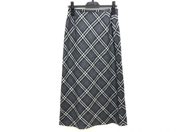 バーバリーズ ロングスカート サイズ40 M レディース美品  グレー×マルチ チェック柄
