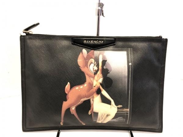 ジバンシー クラッチバッグ アンティゴナ 黒×マルチ バンビ PVC(塩化ビニール)