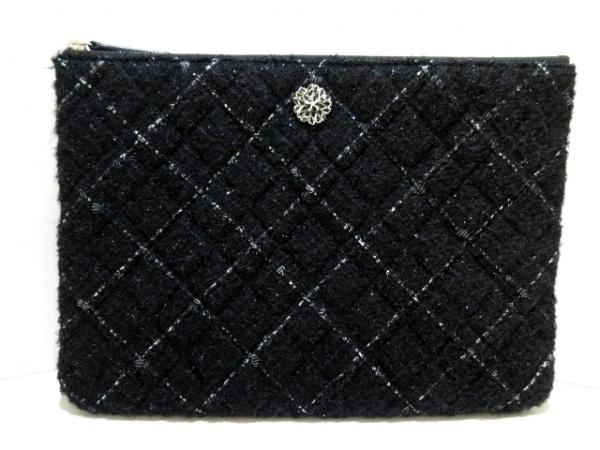 シャネル クラッチバッグ美品  マトラッセ 黒×ライトグレー コットン×ラムスキン