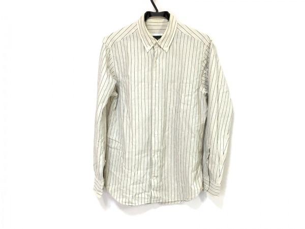 Papas(パパス) 長袖シャツ メンズ ベージュ×ネイビー ストライプ