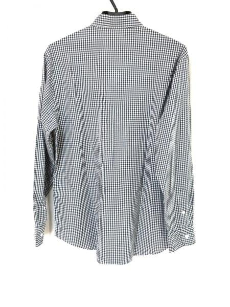 Papas(パパス) 長袖シャツ メンズ 白×ブルー チェック柄