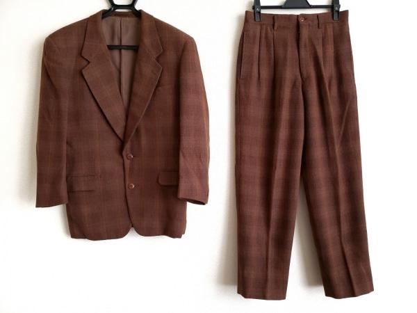コムサデモードメン シングルスーツ サイズS メンズ ブラウン×マルチ チェック柄