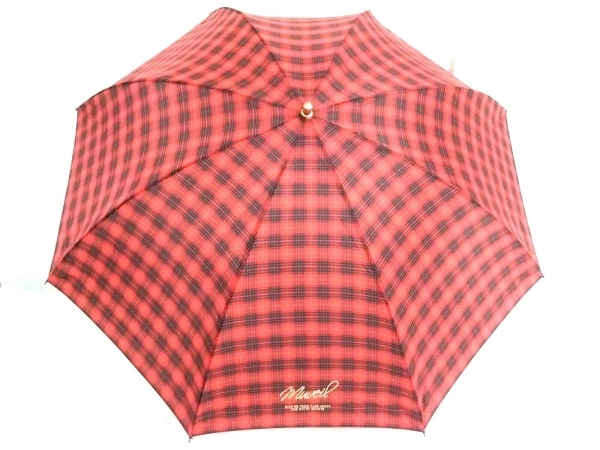MUVEIL(ミュベール) 折りたたみ傘美品  レッド×黒×マルチ チェック柄 ナイロン