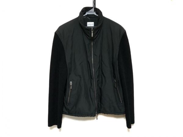 アルマーニコレッツォーニ ブルゾン サイズ50 M メンズ美品  黒 袖ニット/冬物