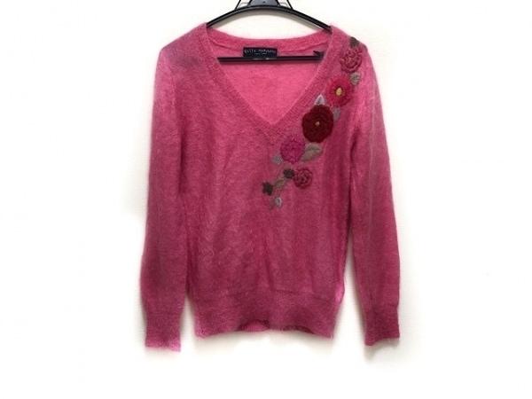 ケイタマルヤマ 長袖セーター サイズ2 M レディース美品  ピンク フラワー