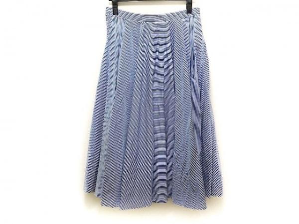 ラルフローレン スカート サイズ9 M レディース美品  ブルー×白 ストライプ