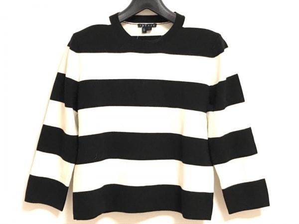 theory(セオリー) 七分袖セーター サイズS レディース 黒×アイボリー ボーダー
