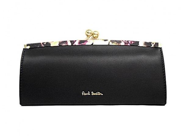 PaulSmith(ポールスミス) 長財布美品  黒×アイボリー×マルチ がま口 レザー