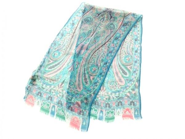 ETRO(エトロ) スカーフ美品  ブルー×グリーン×マルチ ペイズリー柄