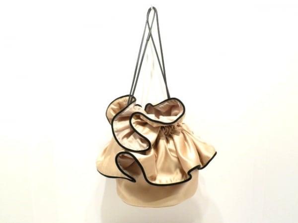 LUDLOW(ラドロー) ハンドバッグ美品  ベージュ×黒 巾着 化学繊維