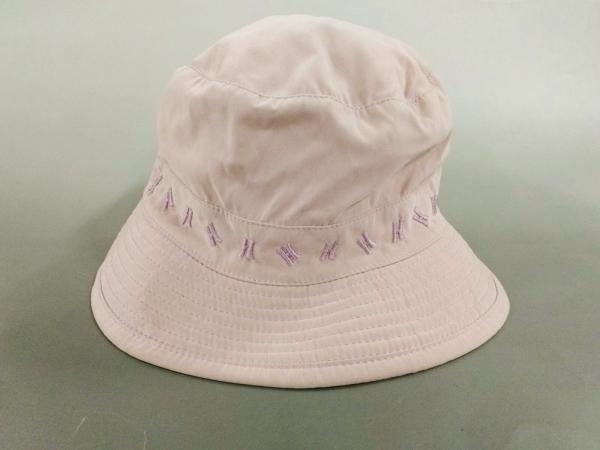 HERMES(エルメス) 帽子 59 ピンク×パープル H刺繍 ポリエステル×ポリアミド
