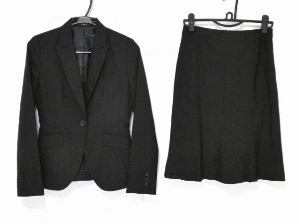 コムサイズム スカートスーツ サイズM レディース新品同様  黒×グレー ストライプ