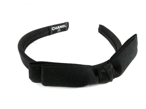 CHANEL(シャネル) カチューシャ サテン 黒 リボン