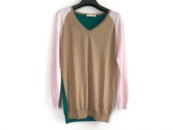 デザインワークス 長袖セーター サイズ38 M レディース ベージュ×グリーン×ピンク